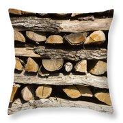 Woodpile. Throw Pillow