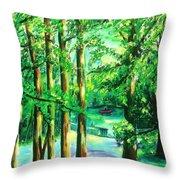 Woodside View Green Throw Pillow