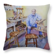 Woodworker Chair Maker Throw Pillow
