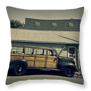 Woody Bus Throw Pillow by Alana Ranney