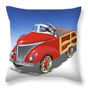 Woody Peddle Car Throw Pillow