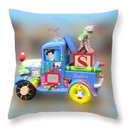 Woody Wagon Throw Pillow