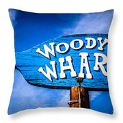 Woody's Wharf Sign Newport Beach Picture Throw Pillow