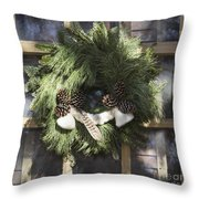 Wool And Feather Wreath Throw Pillow