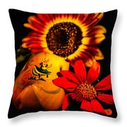 Woold Shoe With Flowers Throw Pillow