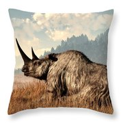 Woolly Rhino And A Marmot Throw Pillow