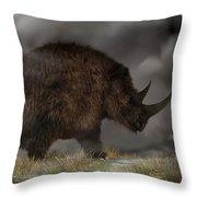 Woolly Rhinoceros Throw Pillow