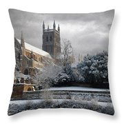 Worcester Cathedral Cloudy Throw Pillow