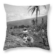 Workers Harvesting Sugar Cane Throw Pillow