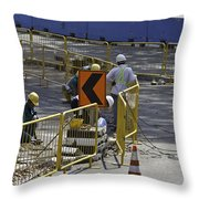 Workers Preparing The Road Surface And Sides Preparing For The Formula 1 Throw Pillow