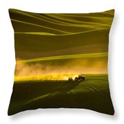 Working The Fields In The Palouse Throw Pillow