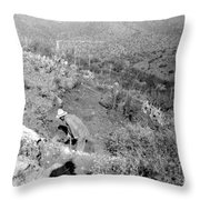 Working The Mine Throw Pillow
