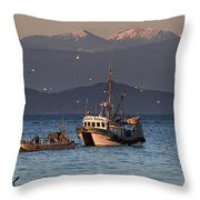 Working The Nets Throw Pillow