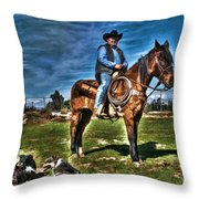 Working The Ranch Throw Pillow