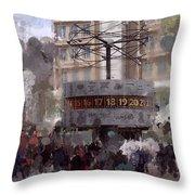 World Time Clock Berlin Throw Pillow