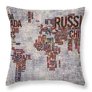 World Map Typography Artwork Throw Pillow