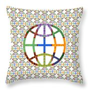 World Globe Earth Travel Graphic Digital Colorful Pattern Signature Art  Navinjoshi Artist Created I Throw Pillow