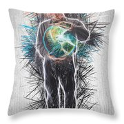 World In His Hands Throw Pillow