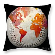 World Map - Rainbow Passion Baseball Square Throw Pillow by Andee Design