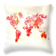 World Map 1h Throw Pillow