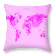 World Map 1n Throw Pillow