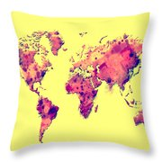 World Map 1t Throw Pillow