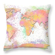 World Map 2 Digital Watercolor Painting Throw Pillow