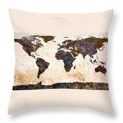 World Map Abstract Throw Pillow by Bob Orsillo
