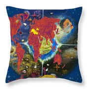 World Map And Barack Obama Stars Throw Pillow