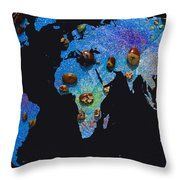 World Map And Sagittarius Constellation Throw Pillow
