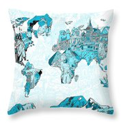 World Map Blue Collage Throw Pillow