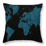 World Map Blue Vintage Fabric On Dark Leather Throw Pillow
