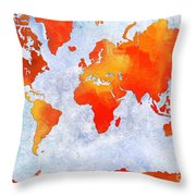 World Map - Citrus Passion - Abstract - Digital Painting 2 Throw Pillow