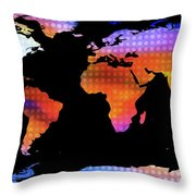 World Map Colourful Dots  Throw Pillow