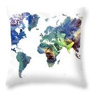 World Map Cosmos Throw Pillow