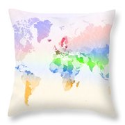 World Map Crumpled Multi-coloured Throw Pillow