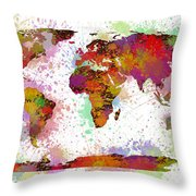 World Map Digital Watercolor Painting Throw Pillow