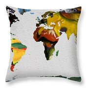 Franz Marc 4 World Map Throw Pillow