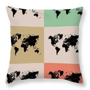 World Map Grid Poster 2 Throw Pillow