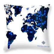 World Map In Blue Lights Throw Pillow