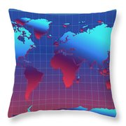 World Map In Blue Throw Pillow