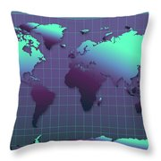 World Map In Dark Green Throw Pillow