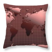 World Map In Dark Red Throw Pillow