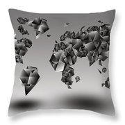 World Map In Geometic Gray  Throw Pillow