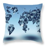 World Map In Geometic Light Blue  Throw Pillow