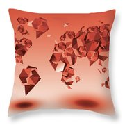 World Map In Geometic Red Throw Pillow