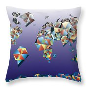 World Map In Geometric Fractal 2 Throw Pillow