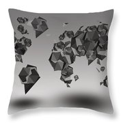 World Map In Geometric Fractal Throw Pillow