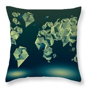 World Map In Geometric Green Throw Pillow