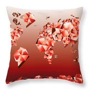 World Map In Geometric Red Throw Pillow